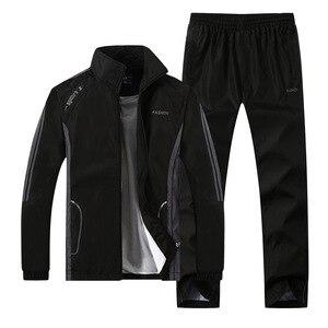 Image 2 - 男性のセットカジュアル新秋男性のスポーツウェアのジッパージャケット + スウェットパンツ 2 個セット男性スリムフィットスポーツスーツ生き抜く