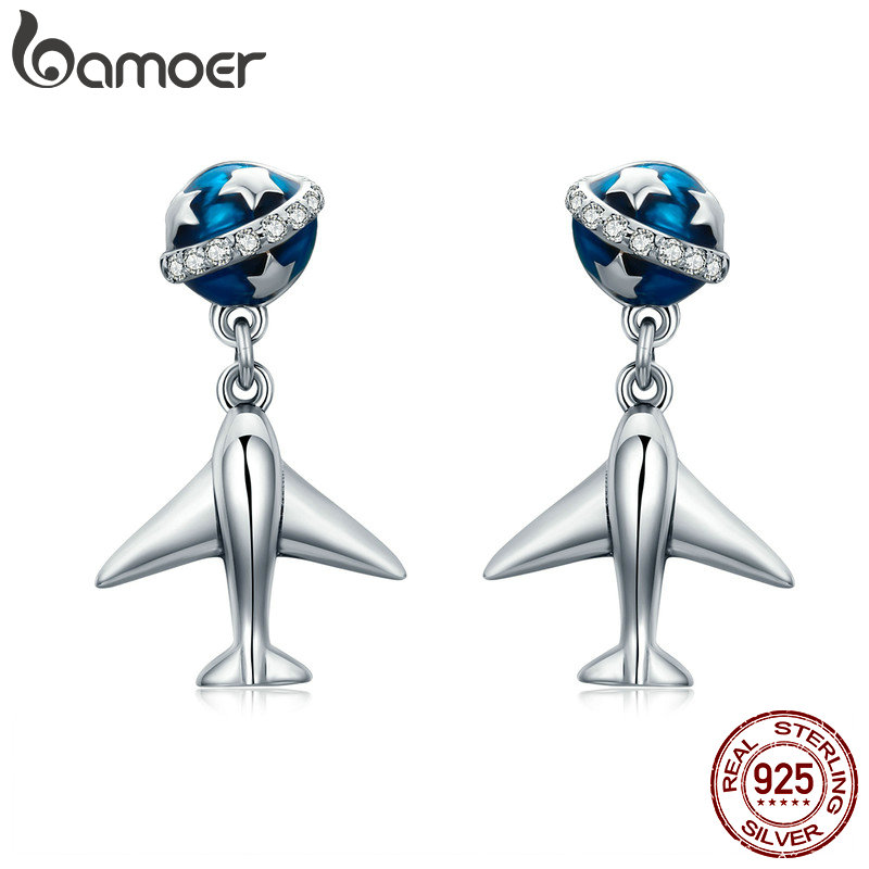 BAMOER 100% 925 Sterling Silver Fashion Star Tours Planet & Plane Drop Earrings For Women Fine Silver Jewelry Brincos SCE331