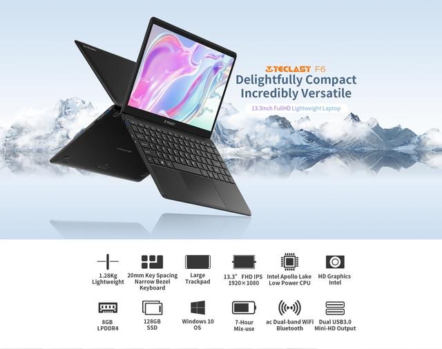 """Newest Teclast F6 Laptop 13.3"""" FHD IPS 1920x1080 Intel Apollo Lake Windows 10 Laptops 8GB LPDDR4 128GB SSD Notebook 1.28KG 2"""