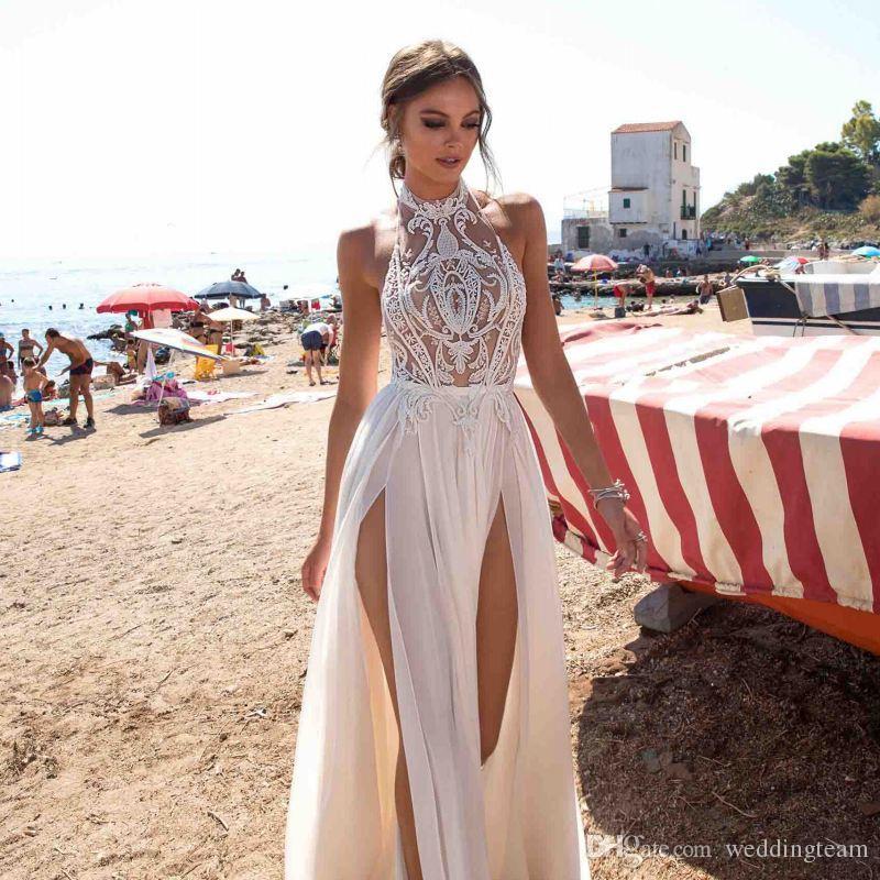 Bohemian Backless Wedding Dresses Lace Appliqued A-Line Halter Neck Split Side Bridal Gowns Chiffon Vestido De Novia