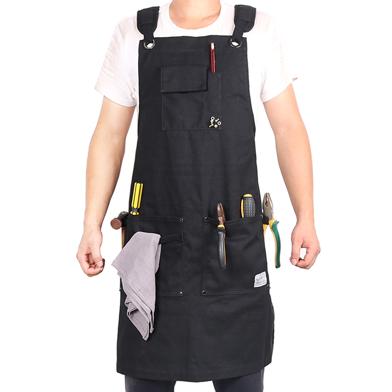 WEEYI Heavy Duty Black Waxed Canvas Workshop Apron Men with  Pockets Cross Back Strap for Woodworker Cobbler Barber Small to  XXLworkshop apronapron mencanvas apron men