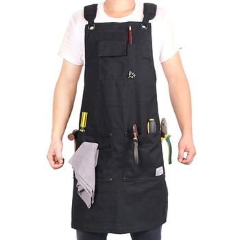 WEEYI Heavy Duty Black Waxed Canvas Workshop Apron Men with Pockets Cross Back Strap for Woodworker Cobbler Barber Small to XXL