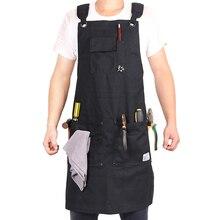Weei tablier datelier en toile cirée noire robuste pour hommes, avec poches et sangle croisée à larrière pour travailleurs du bois, coiffeur et coiffeur, de petit à XXL
