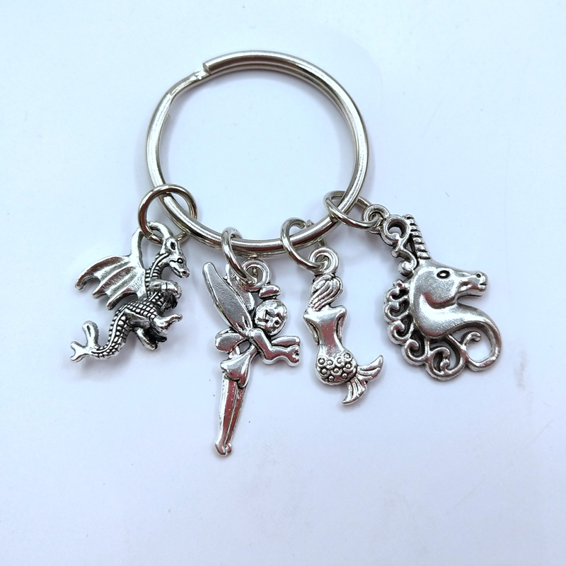 Fantasy Keyring,Magic Keychain,Mythical Creatures,Dragon Gift, Mermaid and Unicorn Keychain,Fairy Gift,Fantasy Lover Gift