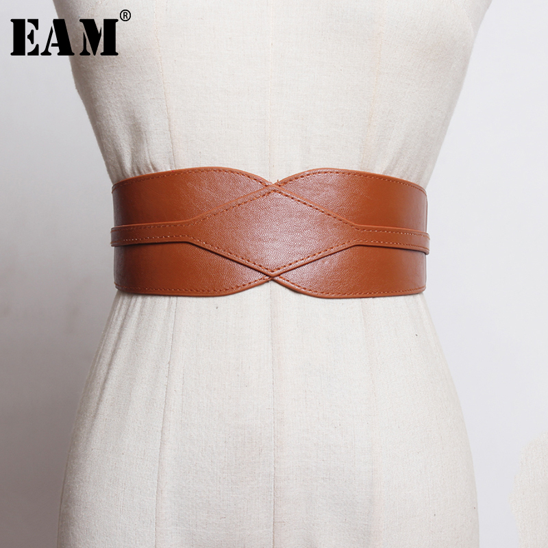 [EAM]  Pu Leather Multicolor Asymmetrical Black Wide Long Belt Personality Women New Fashion Tide All-match Spring 2020 1N851
