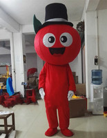 Red Apple cartoon Mascot Costume Fruit with hat Adult Size Halloween carvinal party outdoor decorations for store opening