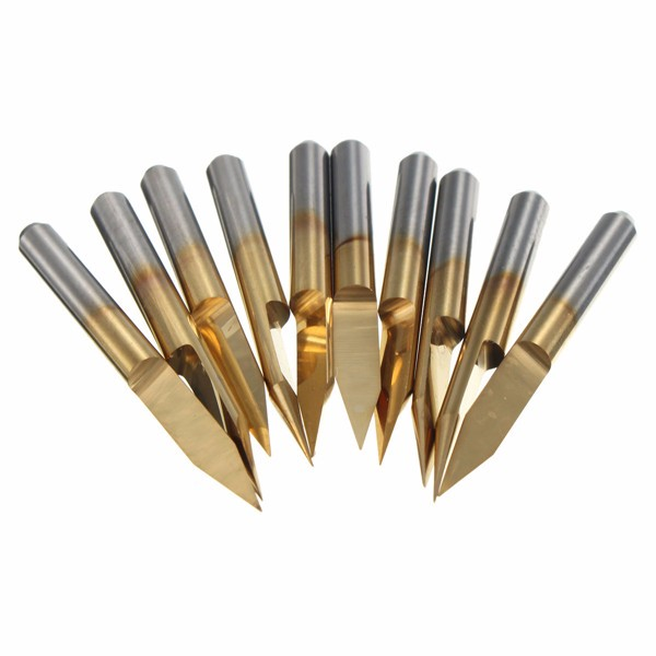 10Pcs 30Degree 30mm 0.2mm Tip End Mill Cutter Titanium Milling Cutters Coated Carbide PCB Engraving CNC Cutter Bit Router Tool