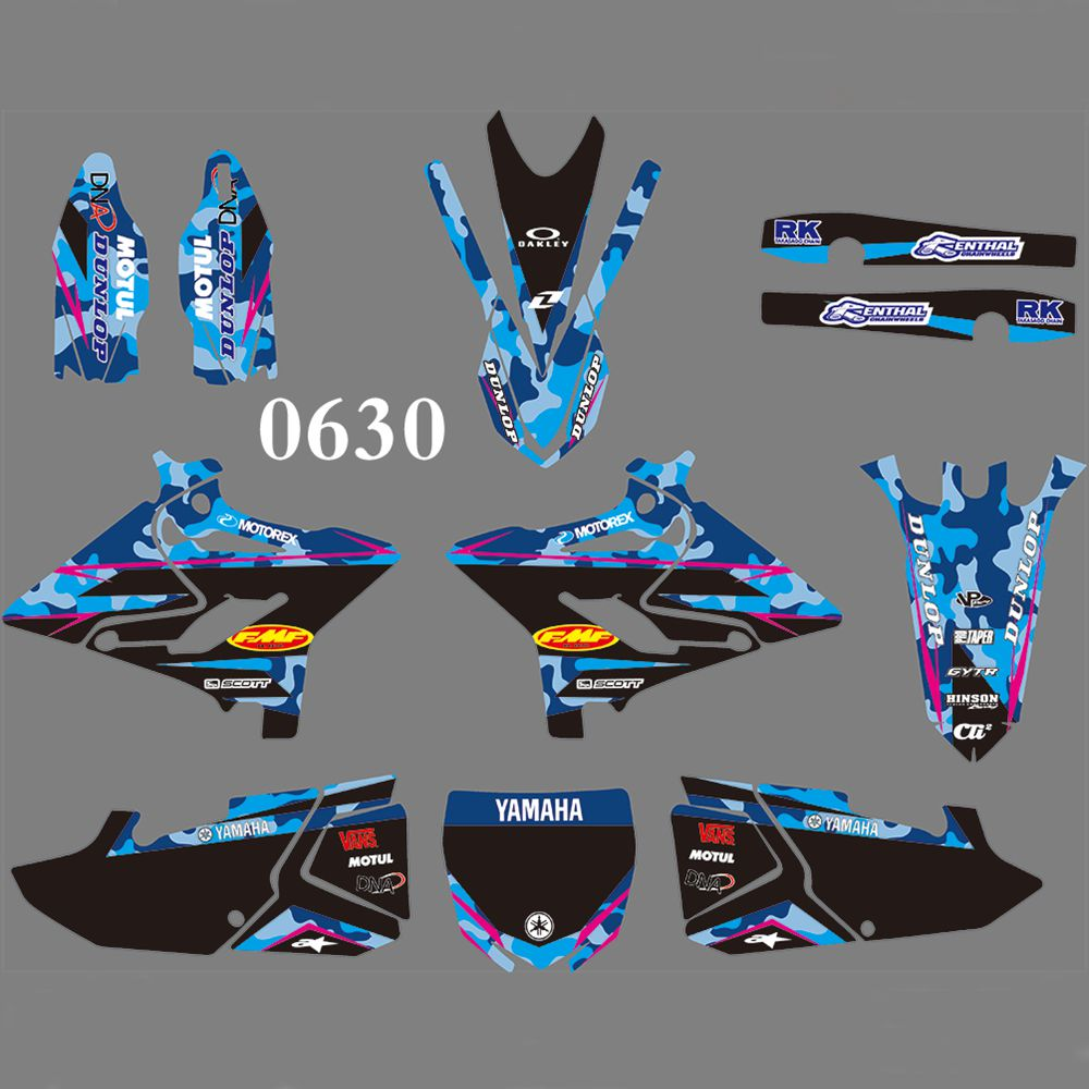 Full Graphics Decals Stickers Kit Custom Number Name Glossy Stickers Waterproof FOR YAMAHA YZ125 YZ250 2015 2016 2017 2018 2019