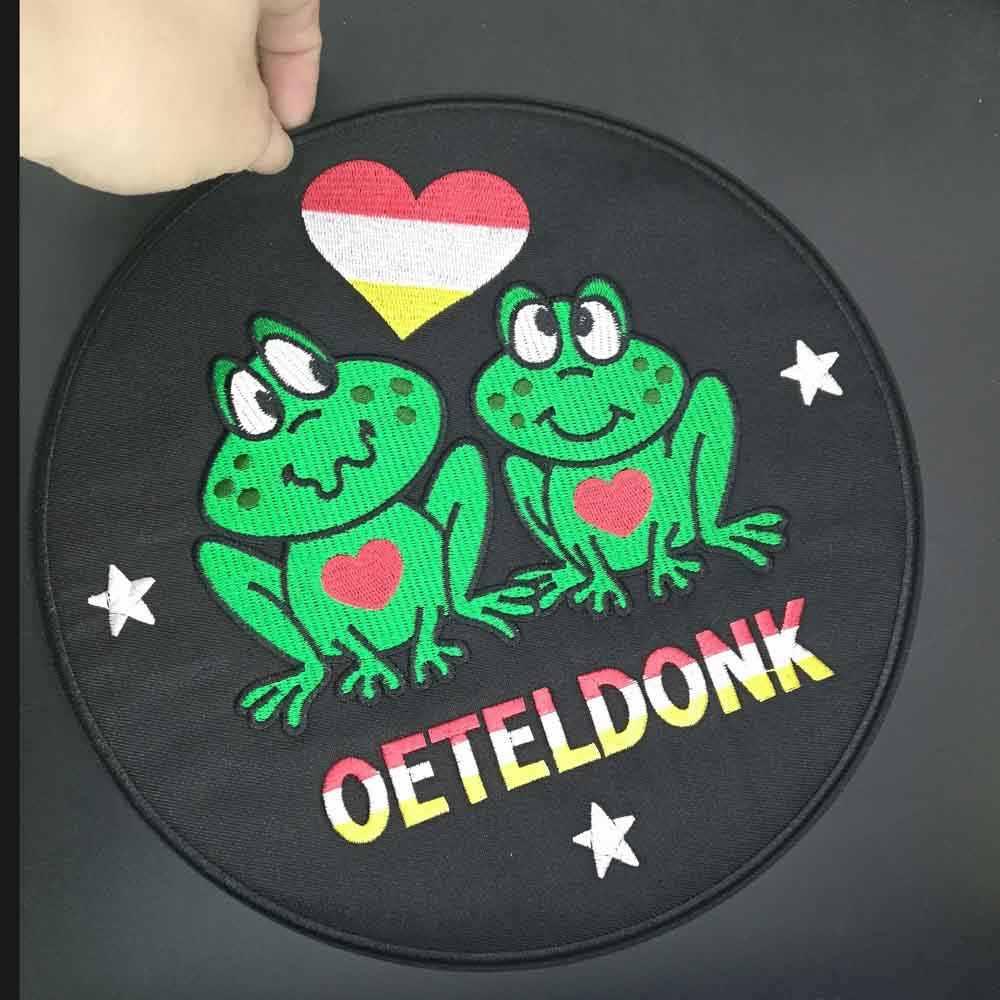 Oeteldonk tam işlemeli kurbağa karnaval hollanda demir On işlemeli elbise giyim için yamalar çıkartmalar konfeksiyon