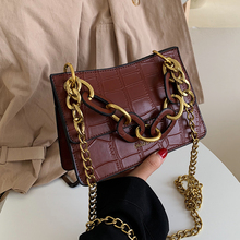 купить Fashion Designer Acrylic Handle Handbags Retro Stone Pattern Women Handbags Chic Shouder Bags Luxury Pu Chain Crossbody Bags New по цене 846.05 рублей