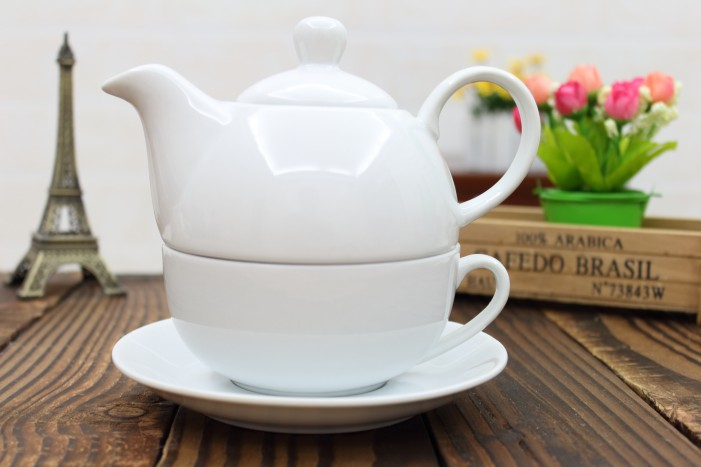 kitchen Simple ceramic pure white mother pot one cup folded flower teapot coffee