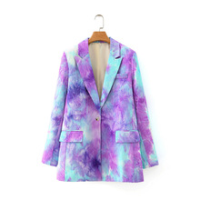 Women Bandhnu Blazer Fashion Office Ladies Color Block Tie-Dye Chic 2020 Lapel Neck Vintage Slim Female Outwear Blooming Coats
