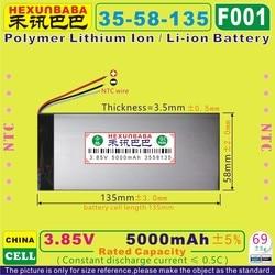 [F001] 3,85 V, 3,8 V, 3,7 V 5000mAh [3558135] NTC; polymer lithium-ion/Li-Ion batterie für tablet pc, power bank, e-buch; HANDY