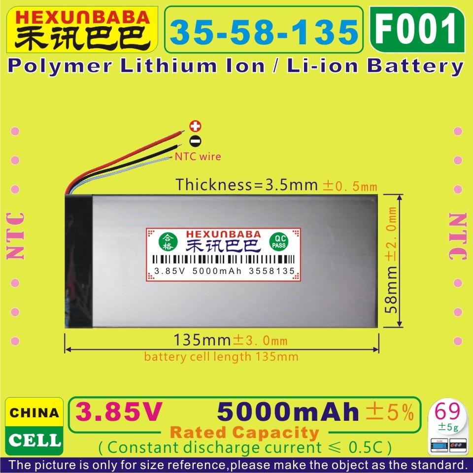 [F001] 3,85 В, 3,8 в, 3,7 в 5000 мАч [3558135] NTC; Полимерный литий-ионный/литий-ионный аккумулятор для планшетных ПК, внешнего аккумулятора, электронной кни...