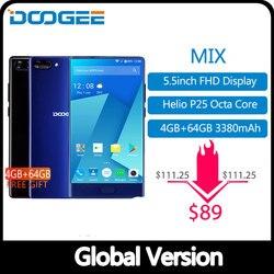 American versão doogee mix 4 gb + 64 gb moldura-menos smartphone câmera dupla 5.5 amamamoled mtk helio p25 octa core telefones celulares