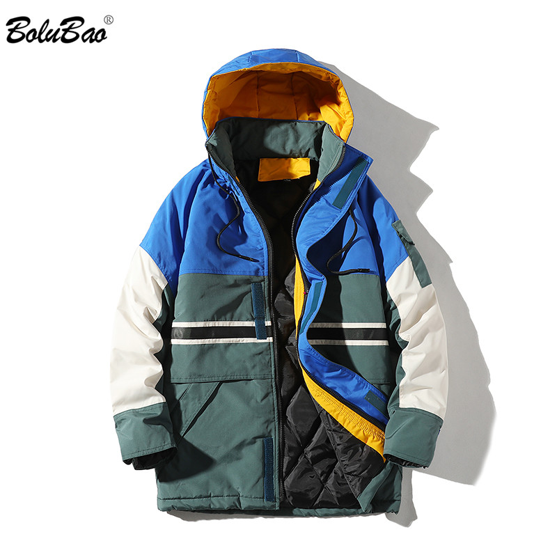 BOLUBAO Brand Men's Jackets Coat Fashion Winter Windproof Hooded Men Jacket Splice Pocket Decoration Jacket Coats Male