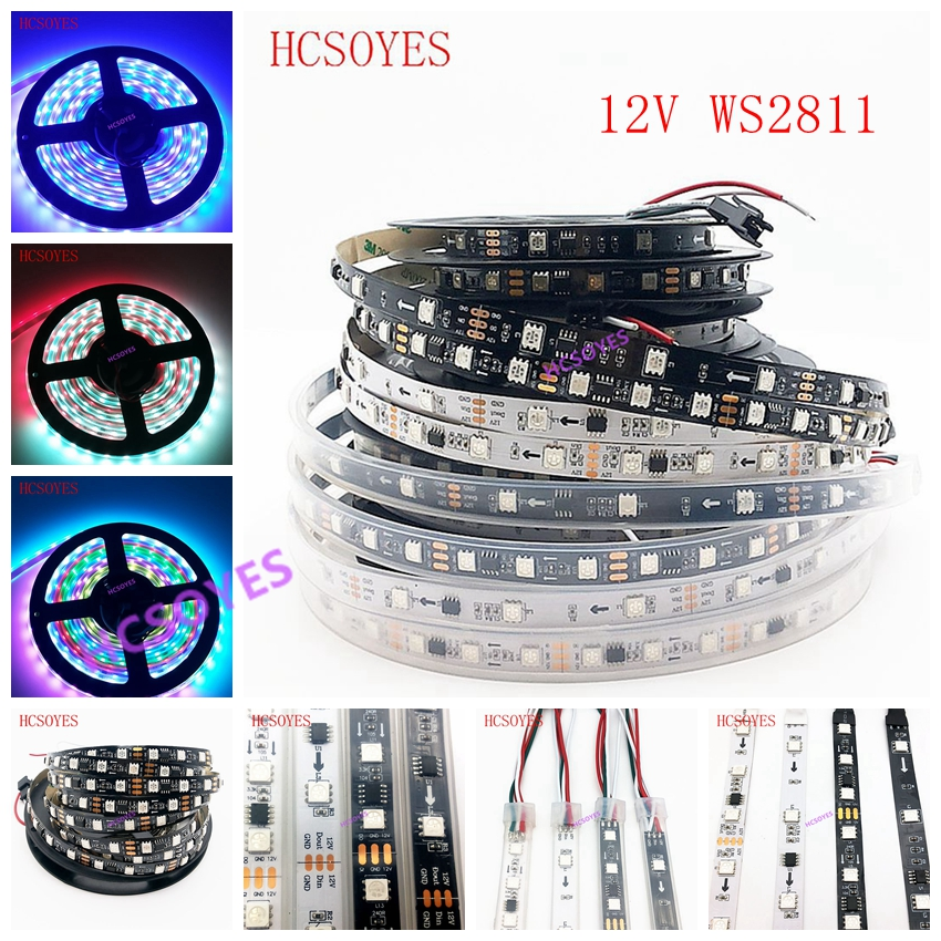 DC12V WS2811 1m/3m/5m 30/48/60leds/m 5050 SMD RGB  Smart Pixel Led Strip Addressable WS2811IC Black/White PCB