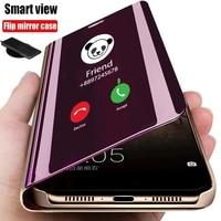 Funda de teléfono inteligente con tapa para iPhone, carcasa con espejo y ventana de pie para iPhone X XR XS 5 5S SE 7 8 6 6S Plus 11 12 13 Mini Pro Max 2020