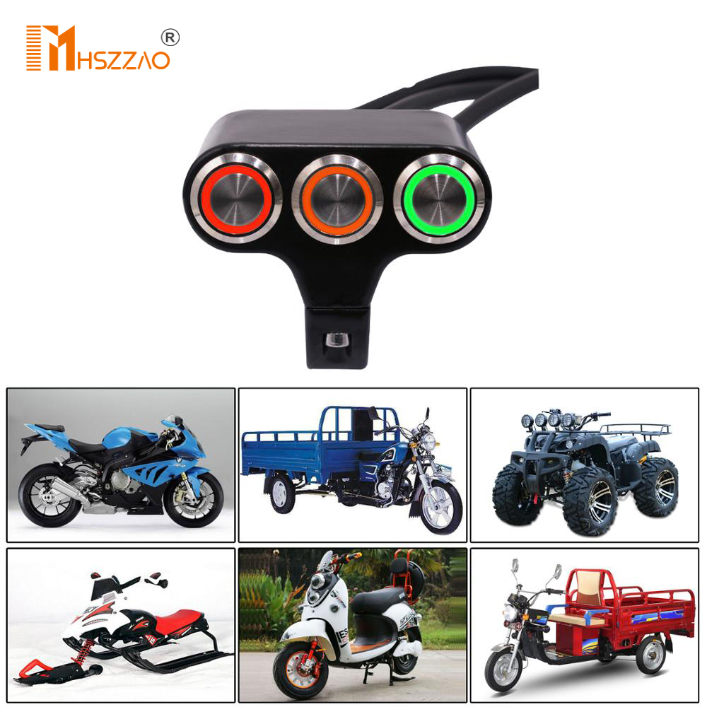 LED 15A aluminum alloy self-resetting button <font><b>switch</b></font>, horn / flameout / start / ignition <font><b>switch</b></font> For Motorcycle, electric car,<font><b>ATV</b></font> image