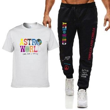 Трэвис Скотт Астромира высококачественная футболка мужская повседневная уличная одежда Harajuku с принтом футболка + спортивные комбинезон fifi lakres одежда повседневная на каждый день