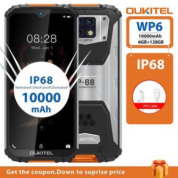 OUKITEL WP6 6GB 128GB Mobile Phone Rugged Ip68 Octa Core Waterproof 48MP Smartphone 9V/2A 10000mAh Battery Triple Camera