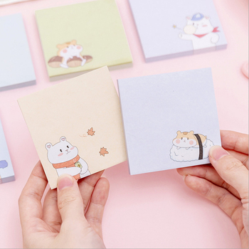 1pack /lot Cartoon Four Seasons White Bear Hamster Paper Self-Adhesive N Times Memo Pad DIY Diary Sticky Office School Supplie 1pack lot kawaiii memo weekly plan mini memo pad n times self adhesive schedule sticky notes stationery for school and office