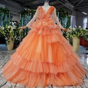 Image 5 - HTL842 robes de mariée musulmanes bleues avec voile de mariée col rond à manches longues robe de mariée verte robe de couleur dentelle robe de noiva azul