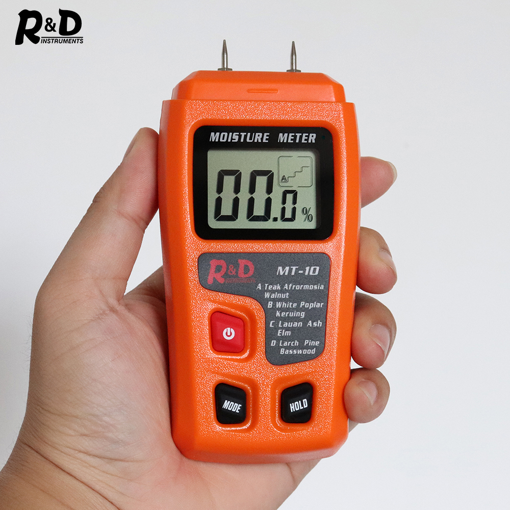 R&D MT-10 EMT01 Wood Moisture Meter Wood Humidity Tester Hygrometer Timber Damp Detector Tree Density tester Grey Orange