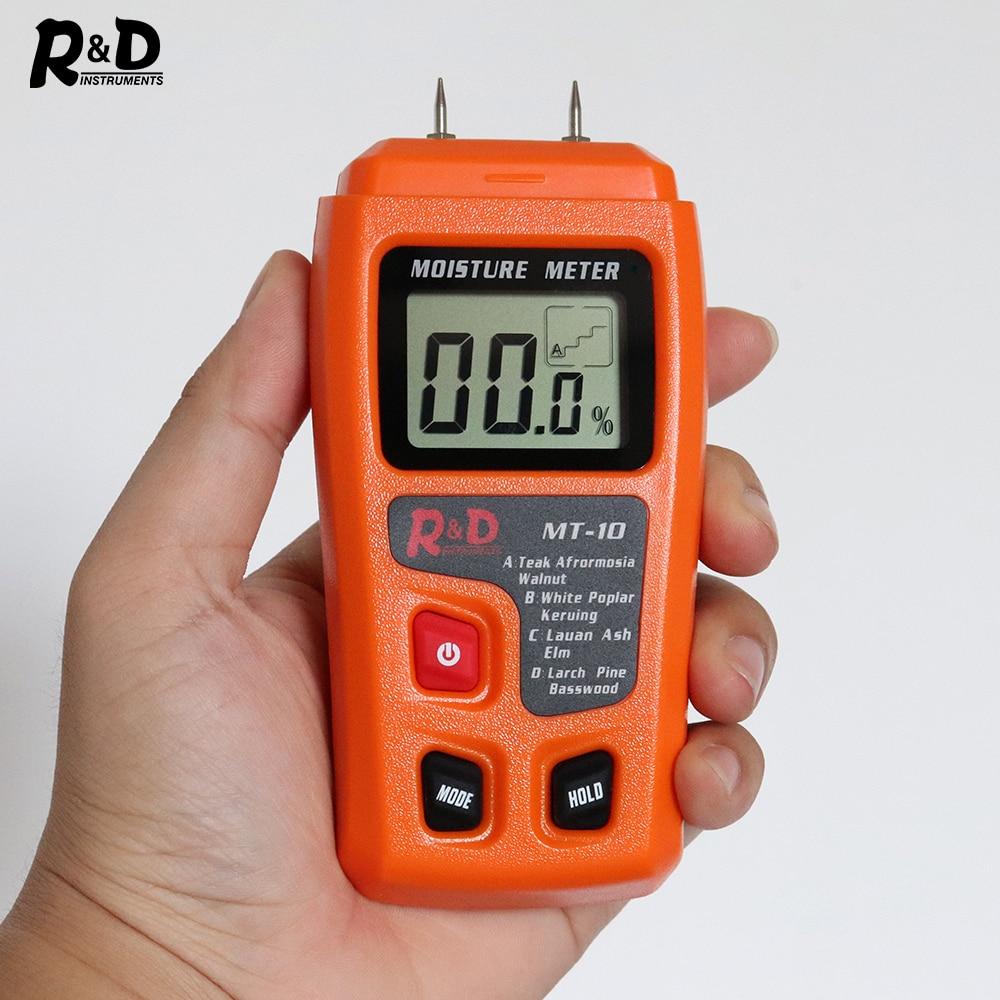 R&D MT-10 EMT01 Wood Moisture Meter Wood Humidity Tester Hygrometer Timber Damp Detector Tree Density Tester Grey Orange
