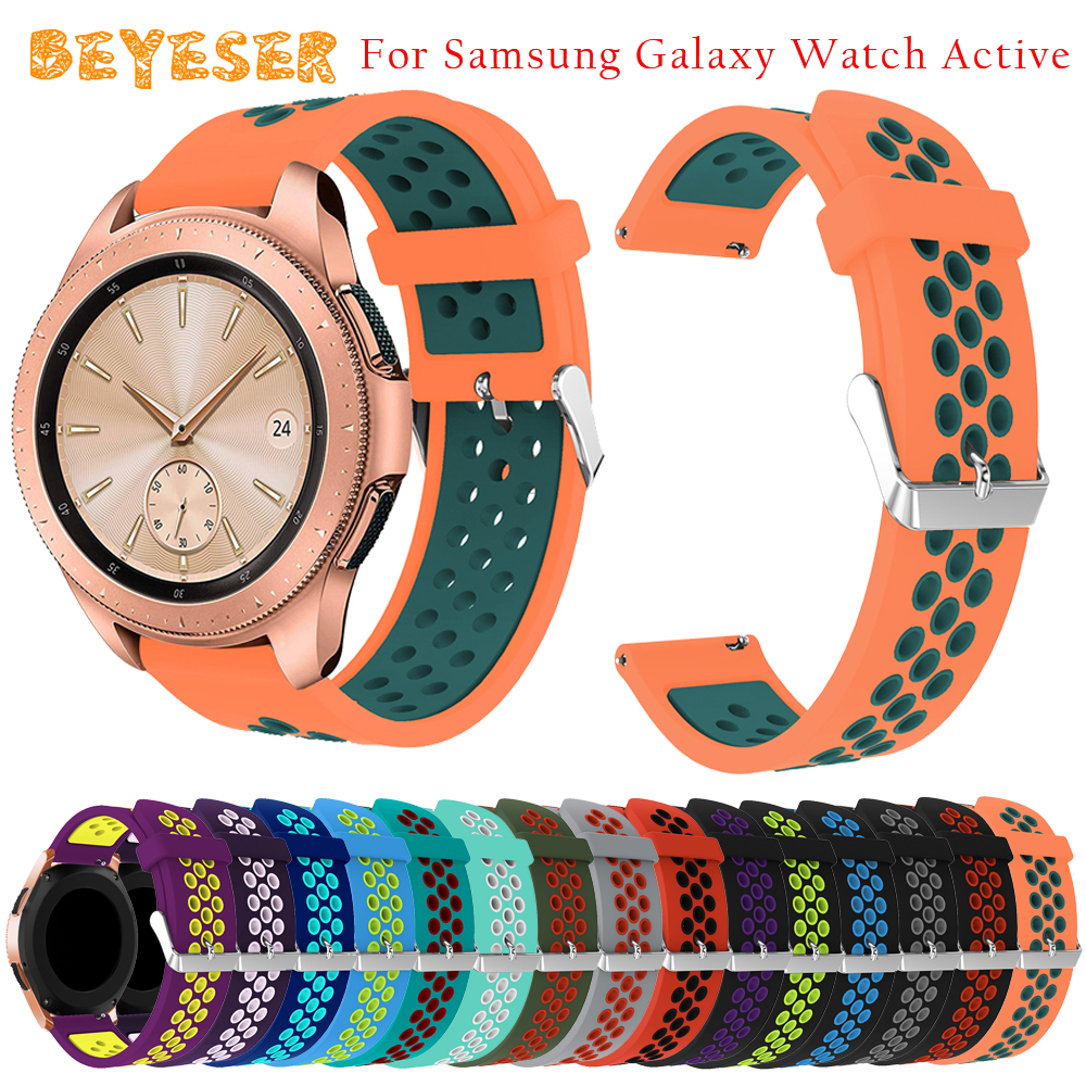 New Colors watch strap For Samsung Galaxy Watch 42mm Double Color Round Hole Style Sport Silicone watchband Bracelet wristband
