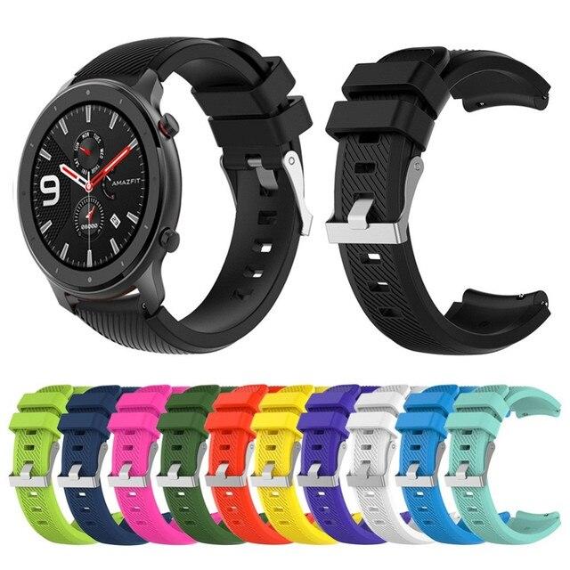 Pour GTR 47mm bracelet en cuir remplacement souple Silicone bracelet de montre bracelet pour Huami AMAZFIT GTR 47mm 2020 offres spéciales
