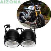 Double Sport motos Dominator 4 ''phare pour Kawasaki Yamaha Suzuki XS CB GS GL café Racer Double phare avec support