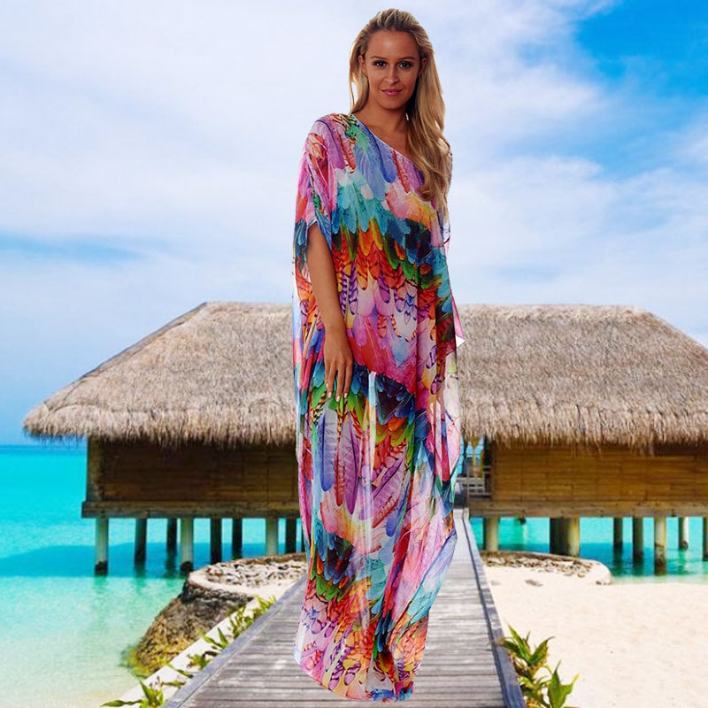 AliExpress Chiffon Color Feather Loose And Plus-sized Beach One Piece Long Skirts WOMEN'S Swimsuit Bikini Blouse