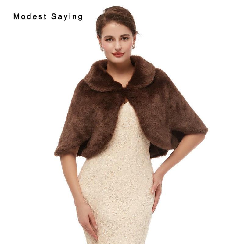 Elegant Deep Brown Evening Party Faux Fur Shawls 2020 New Arrival Prom Lapel Collar Boleros Stoles Warm Wrap Wedding Accessories