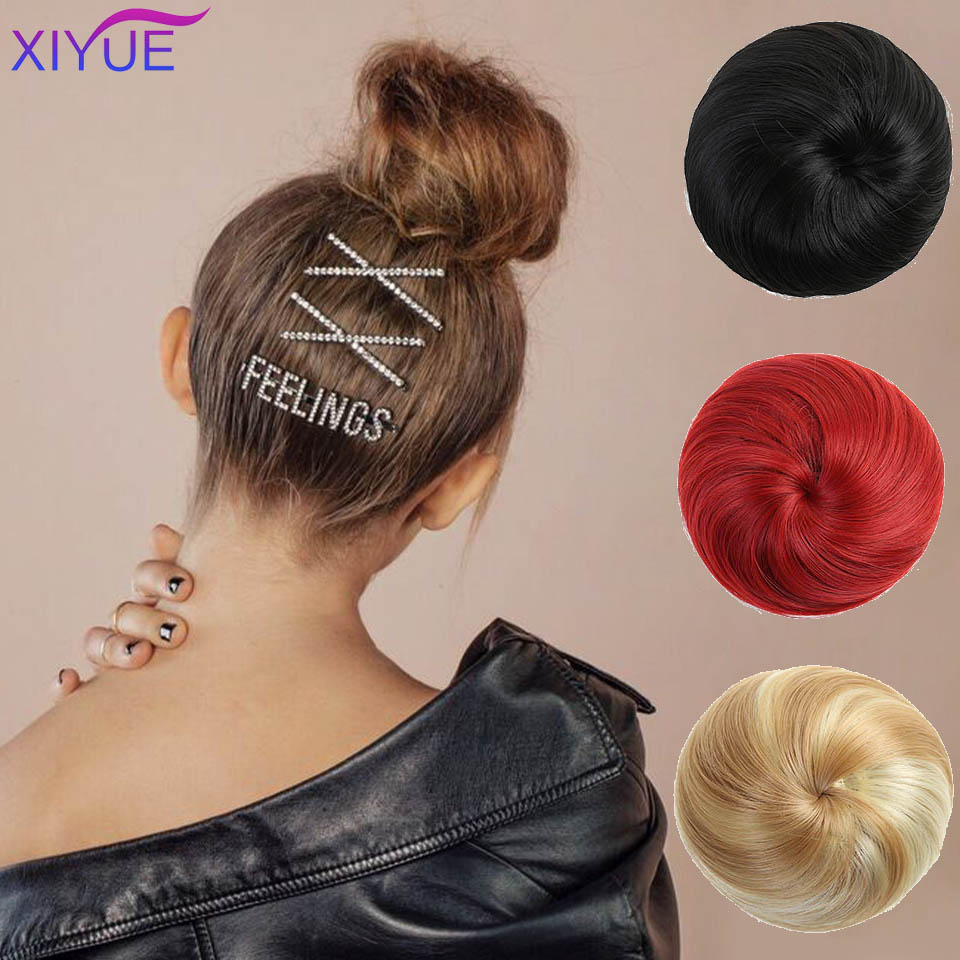 Women Synthetic Straight Hair Donut Chignon Elastic Rubber Band Drawstring Clip In Hair Buns Hairpieces Synthetic Chignon Aliexpress