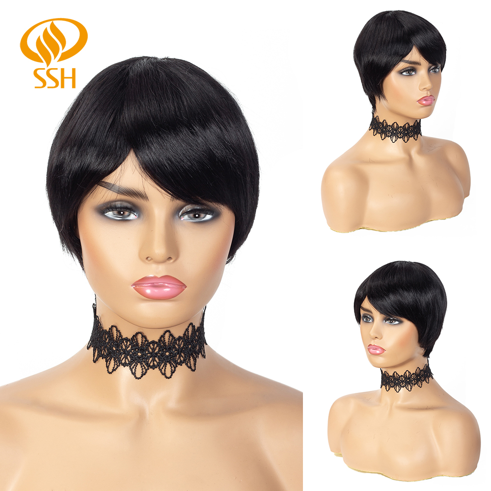 SSH Brazilian Remy Short Straight Human Hair Wigs Pixie Cut For Black Women Side Part With Bang Black Color Wig Free Shipping