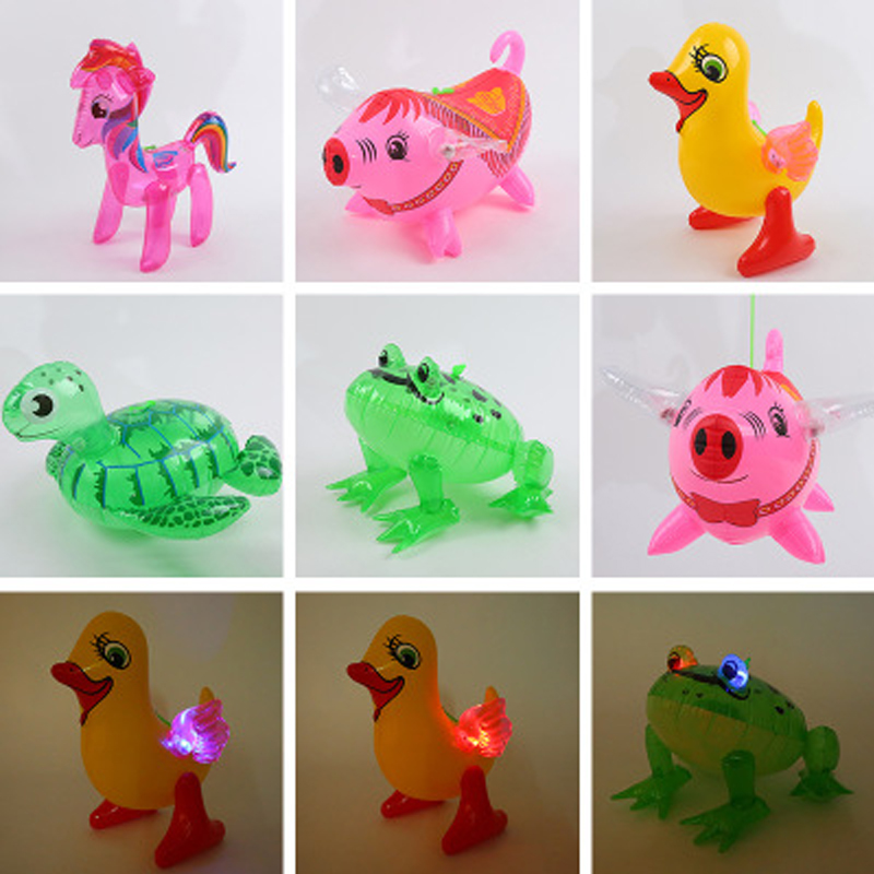 1Pcs Inflatable Glowing Animal Toys Pig Frog Duck Turtle Flexible Glowing Animal Toy For Kids Xmas Gifts