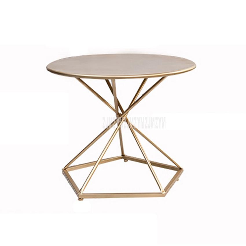 Nordic Simple Round Tea Table Iron Art Living Room Balcony Creative Leisure Modern Sofa Side Tea Coffee Table 50CM/60CM Diameter