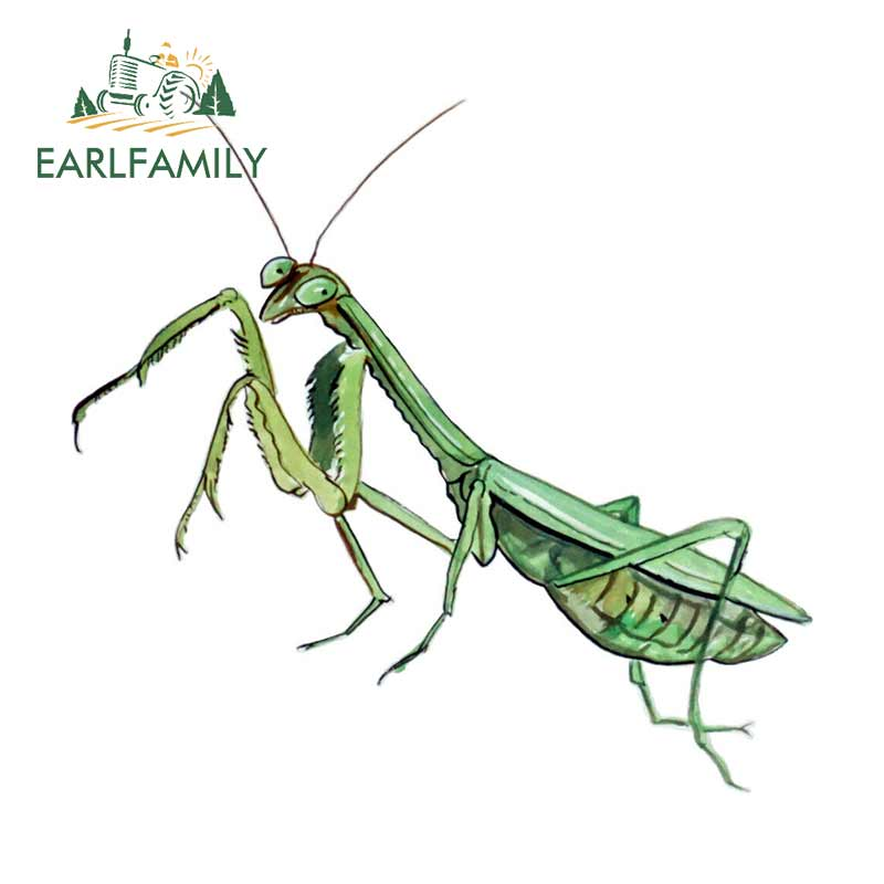 EARLFAMILY 13cm X 12.5cm Car Stickers Praying Mantis Auto Truck SUV Car Printed Vinyl Decal Waterproof Car Styling Graphic