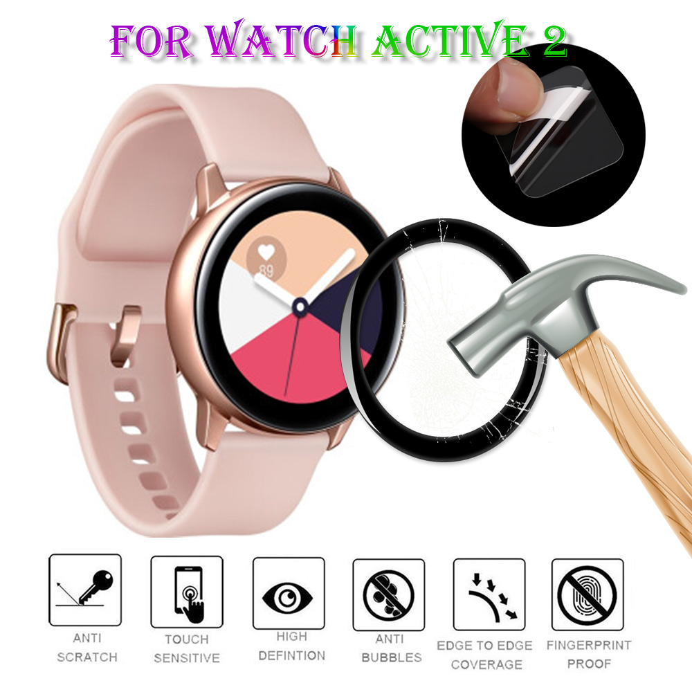 3D Full HD Edge Fibre Glass Protective Film For Samsung Galaxy Smart Watch Active 2 40mm 44mm Screen Protector Accessories