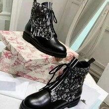 Модные повседневные женские Ботинки martin; удобные женские ботинки из дышащего трикотажа; женская обувь на толстой подошве