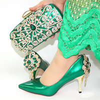 Peacock green fashion shoes matching clutches bag set chirstmas party nigeria lady shoes and bag african aso ebi SB8454 4
