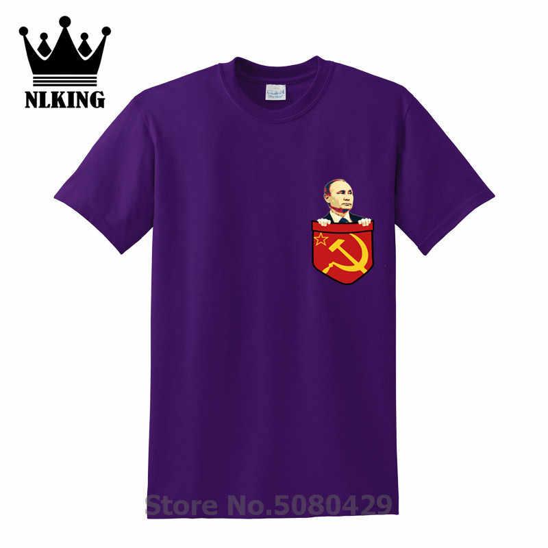 Vladimir Putin Komunisme Dada Saku Kaos Pria Lengan Pendek Pro Kitty Vladimir O-Leher T Shirt Pria Rusia Camiseta Karya Seni Tshirt