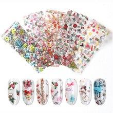 10 sheets/set Christmas Style Nail Art Water Transfer snowflake snowman Santa hat nail  Stickers Manicure DIY 20*4cm