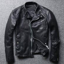 شحن مجاني ، العلامة التجارية أزياء رجالي سليم سترة جلدية حقيقية ، أسود موضة معطف جلد الغنم لينة ، ملابس جلدية باردة. جودة