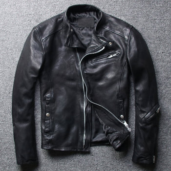 Free shipping,Brand fashion mens slim genuine leather Jacket,black soft sheepskin coat,Cool clothing.quality - discount item  10% OFF Coats & Jackets