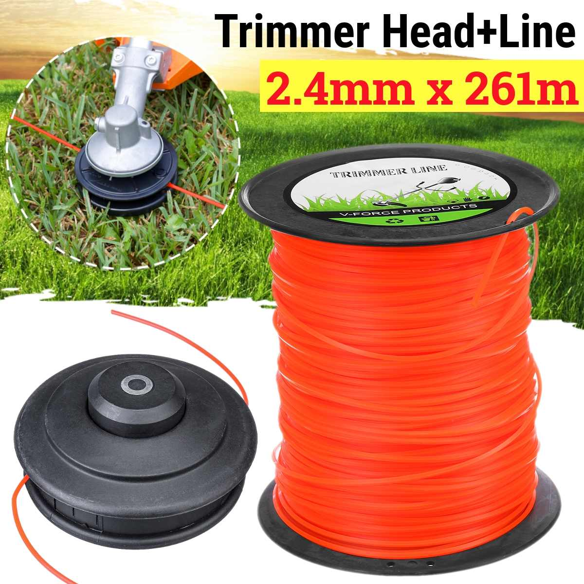 Universal M10 Aluminum Nylon Brush Mower Bump Spool Grass Trimmer 2 Lines Cutter Head Thread Line String Saw Grass Brush Mower