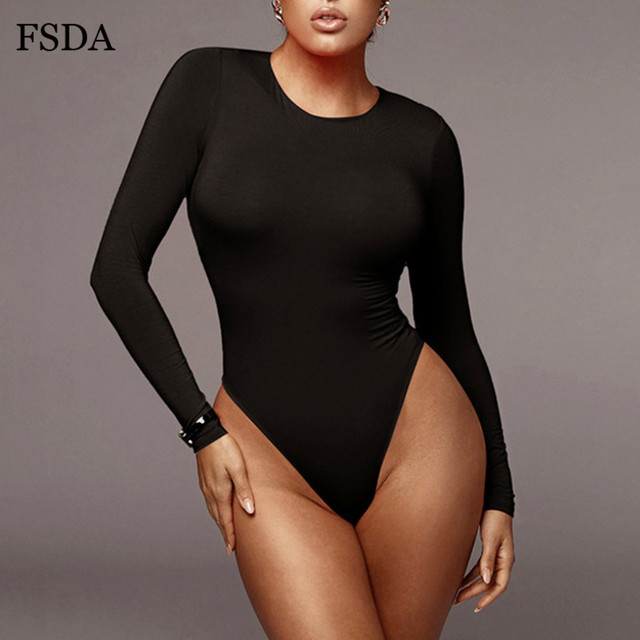 FSDA O Neck Long Sleeve Solid White Sexy Bodysuit Women Black Autumn Winter Body Top Gray Casual Lady Streetwear Bodysuits 2