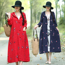 Get Photo Shoot Cotton Linen Trench Coat Ethnic-Style Embroidered Cardigan Autumn Coat 2019 New Style Flax Robe Chinese-style lowestprice