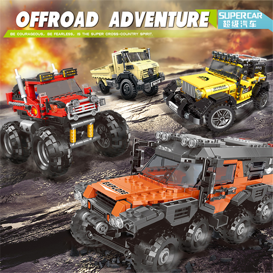 XingBao 03024 03025 03026 03027 TECHNIC Car Series Off Road Adventure Truck Set Building Blocks Bricks Compatible Legoings Cars in Blocks from Toys Hobbies